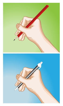 hand holding paper: Image of hand holding pencil and pen on blank space Illustration