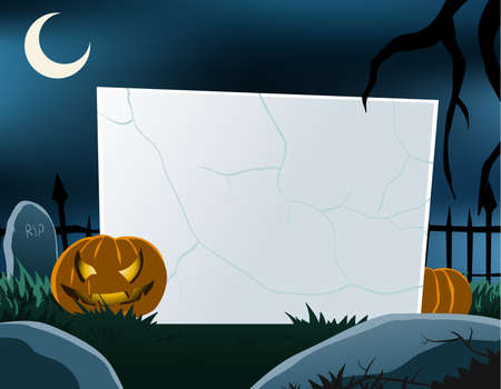 Vector of blank board in halloween theme. All objects are in separated layers. Vector