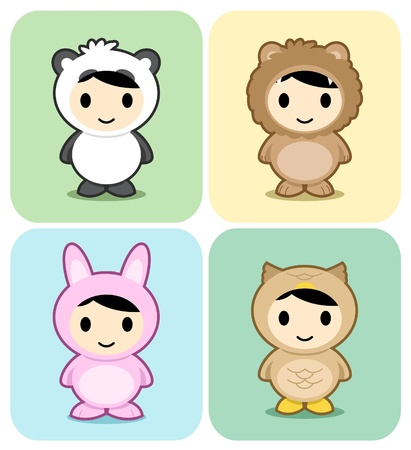Set of kids in cute animal costumes Stock Vector - 9931500