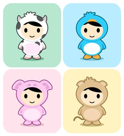 monkey suit: Set of kids in cute animal costumes Illustration