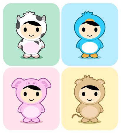 Set of kids in cute animal costumes Vector