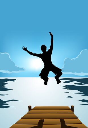 Silhouette of man jumping high to the water with sunrise background Illustration