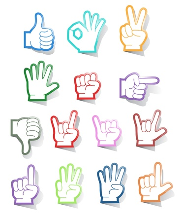 dedo: Colecci�n de vector de pegatinas de gestos de mano