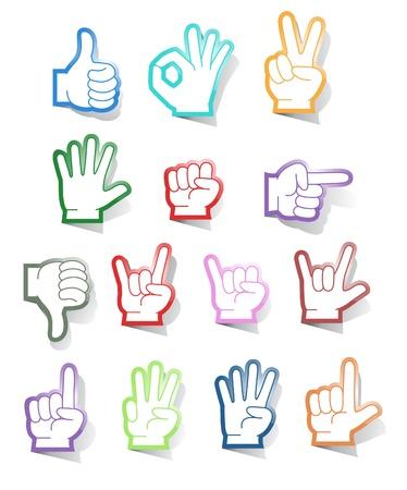 vers  ¶hnung: Vektor-Sammlung von Hand Gesten Aufkleber Illustration