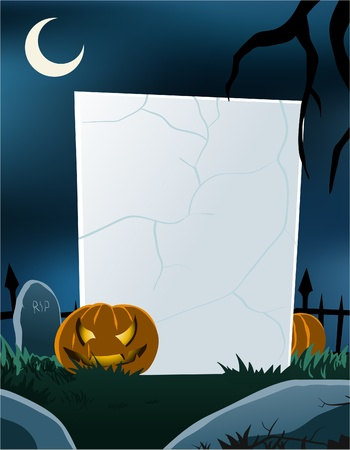 Vector of blank board in halloween theme in vertical format. All objects are in separated layers