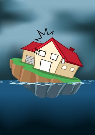 Image of house in cartoon style sinking into the water