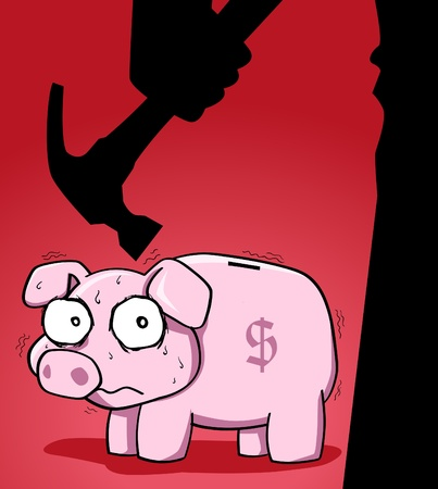 recession: Image of piggy bank with fear expression on its face and silhouette of man holding hammer