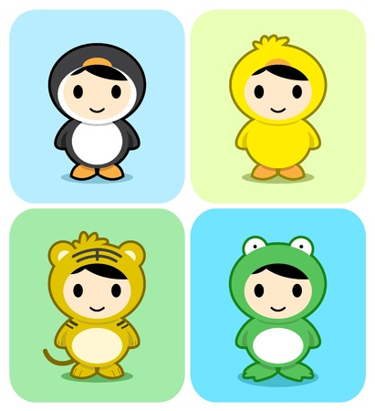 Set of kids in cute animal costumes. See my portfolio for other cute animals Stock Vector - 10139955