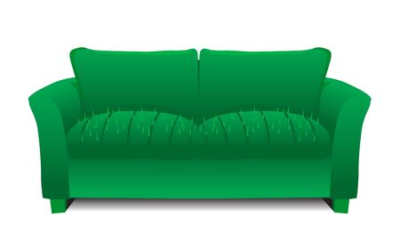 An sofa with cactus needle on the seat