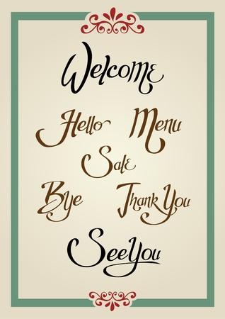 Set di saluto di progettazione parole in stile calligrafico