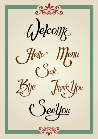 Sets of greeting words design in calligraphic style Vector