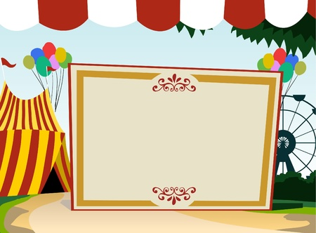vintage carnival: Image of blank board with carnival theme
