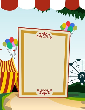 carnival background: Image of vertical blank board with carnival theme