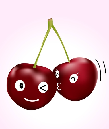 dating: Image of couple of cherries with cute face expression