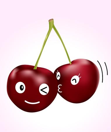 smooch: Imagen de una pareja de cerezas con una expresi�n cara bonita Vectores