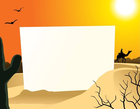 dune: Image of blank board in the middle of desert Illustration