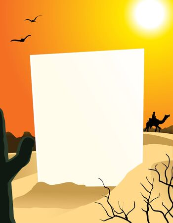 outdoor blank billboard: Image of vertical blank board in the middle of desert Illustration