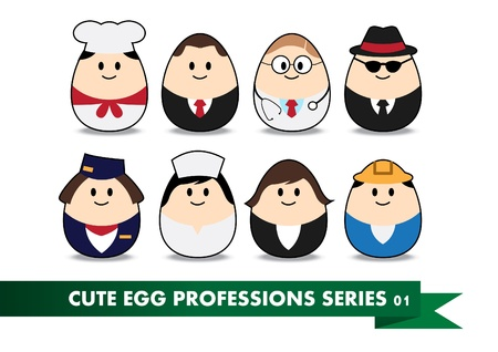 female chef: Collection of profession image in egg-shaped