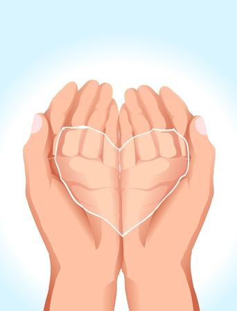 gentillesse: Image de main tenant de l'eau en forme de c?ur Illustration