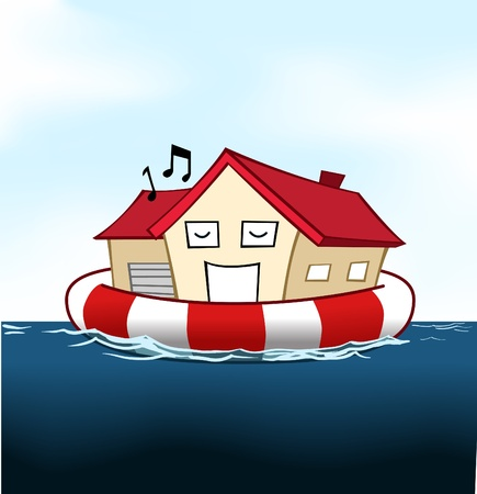 Image of house in cartoon style floating on the water with a life saver