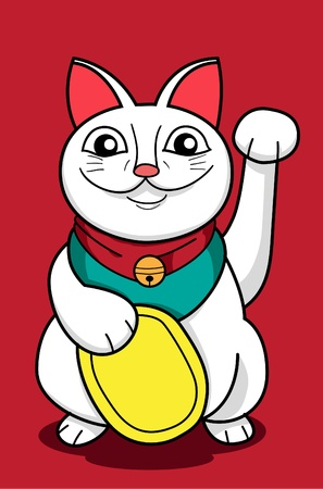 oriental white cat: An image of lucky cat in cartoon style Illustration