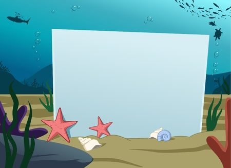 bubble sea anemone: Image of blank board under water decoration