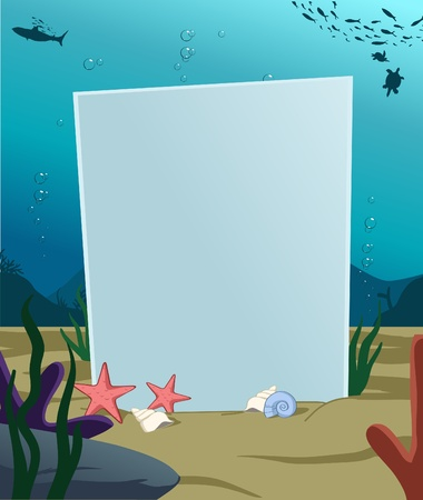 Image of vertical blank board under water decoration Vector