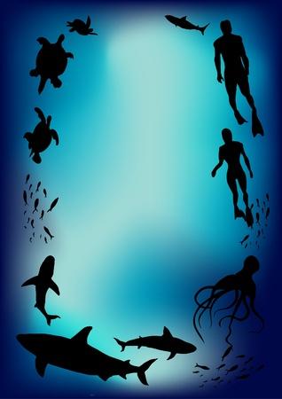 undersea: Imagen de escena submarina formando un espacio en blanco para escribir copia