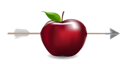 Image of realistic apple shot by an arrow