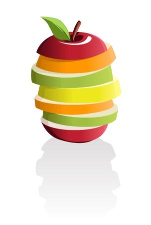 mezcla de frutas: Imagen de rodajas de variedad de frutas apiladas en una