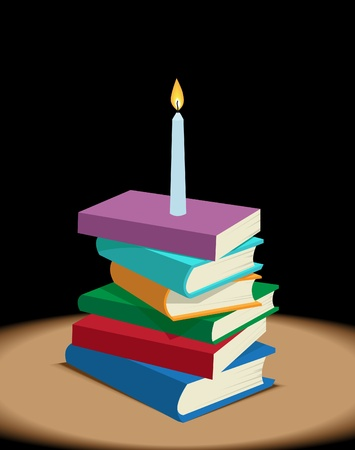 illuminate: Image of book stack with lit candle as knowledge symbol on them