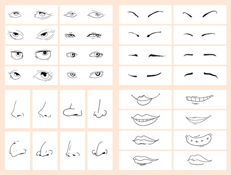 Collection of doodle drawing separated face Stock Vector - 10683631