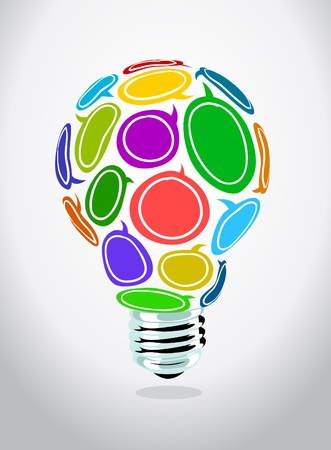 Image of speech bubbles shaping a light bulb Stock Vector - 10683624