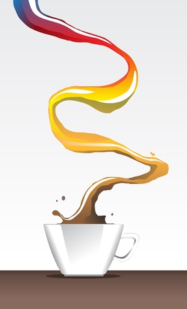 Image of cup of coffee with rainbow color representing variety Illustration