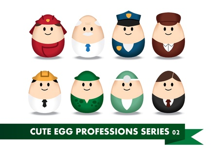 Collection of profession image in egg-shaped Vector
