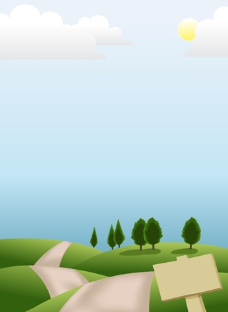 farm land: Image of peaceful scenery on the hill