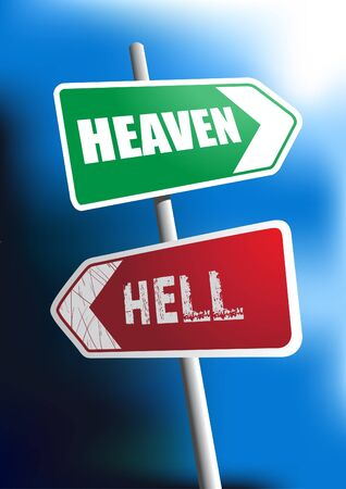 hell: Image of signboard showing the direction to heaven and hell Illustration