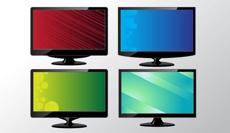 Image of monitors with removable abstract background Stock Vector - 10683621