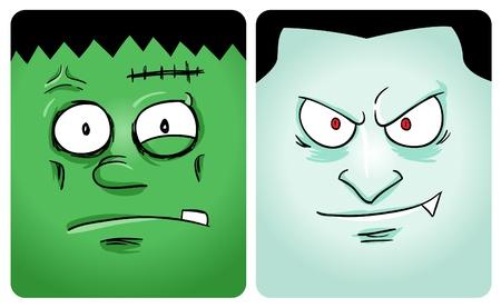 Cartoon image of frankenstein and vampire