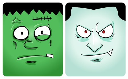 Cartoon image of frankenstein and vampire Vector