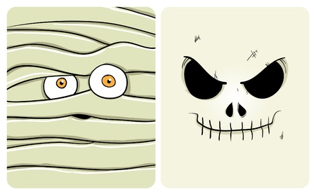 scare: Cartoon image of mummy and skeleton. See my portfolio for other halloween themes Illustration