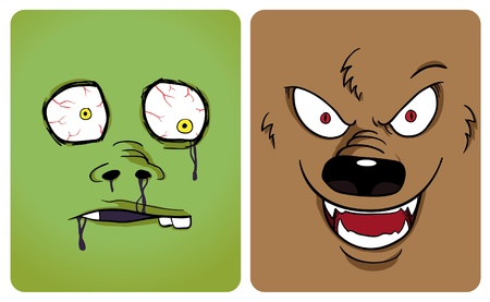 Cartoon image of zombie and werewolf. See my portfolio for other halloween themes Illustration