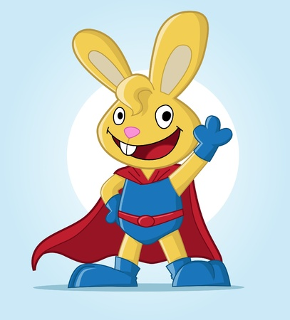 superhero cape: Image of a cute bunny. Suitable for product mascot or just web usage. See my portfolio for other animal super hero