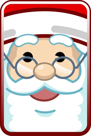 Cute cartoon close up face of Santa Claus Vector
