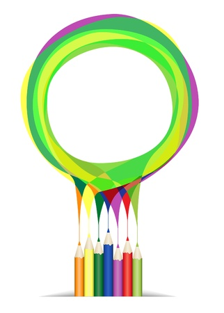 Group of color pencil on white background with white space over colorful scratch Stock Vector - 10960681