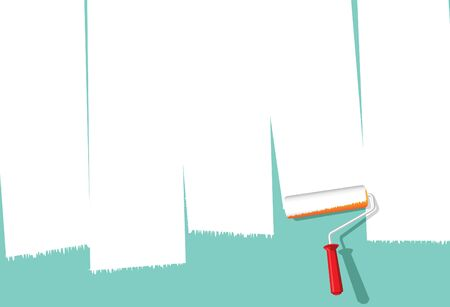 Image of paint roller painting over wall to make space for copy Vector