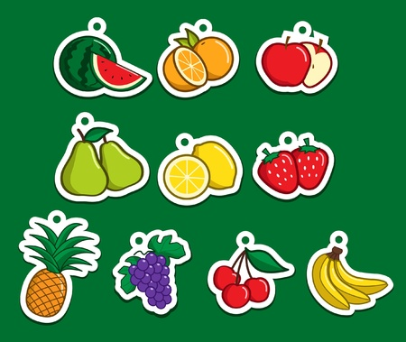 watermelon juice: Collection of cartoon fruits sticker Illustration