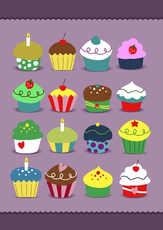 Set of cupcakes in nice soft coloring with many kind of toppings  Illustration