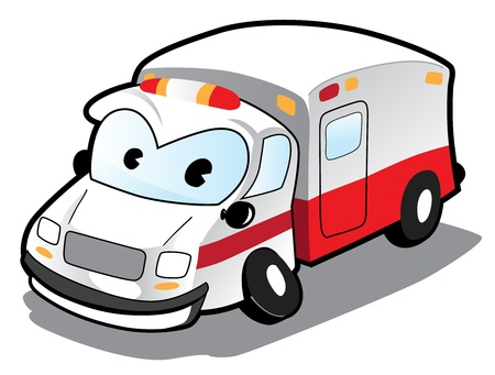 Image of cartoon ambulance car  Vector