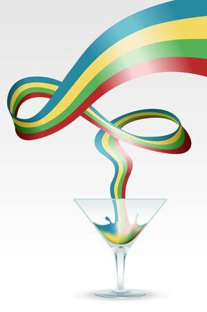 Image of glass containing rainbow splash representing idea and creativity